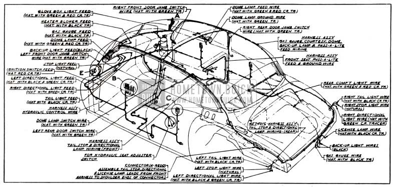 1951 Buick Body and Hydro-Lectric Wiring Circuit Diagram-Models 52, 72R-Styles 4519X, 4719X