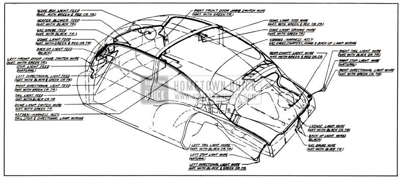 1951 Buick Body Wiring Circuit Diagram-Model 56S-Style 4507
