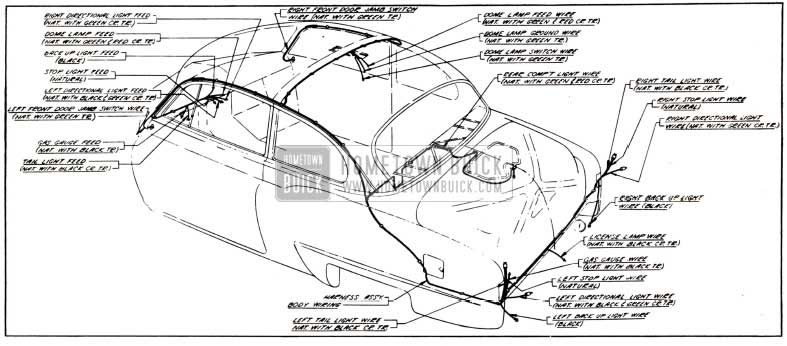 1951 Buick Body Wiring Circuit Diagram-Models 46, 46S-Styles 4327B, 4327