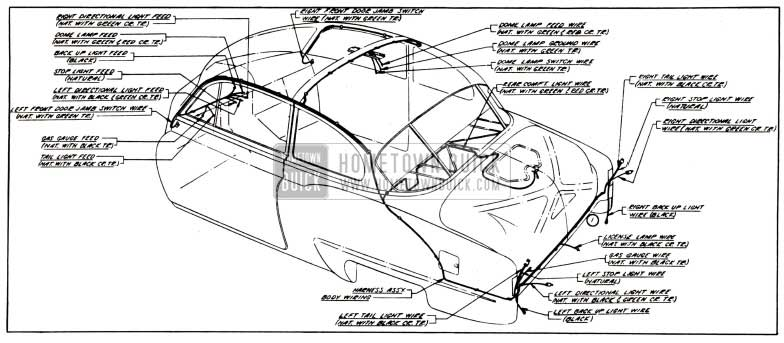 1951 Buick Body Wiring Circuit Diagram-Models 48, 48D-Styles 4311, 4311D