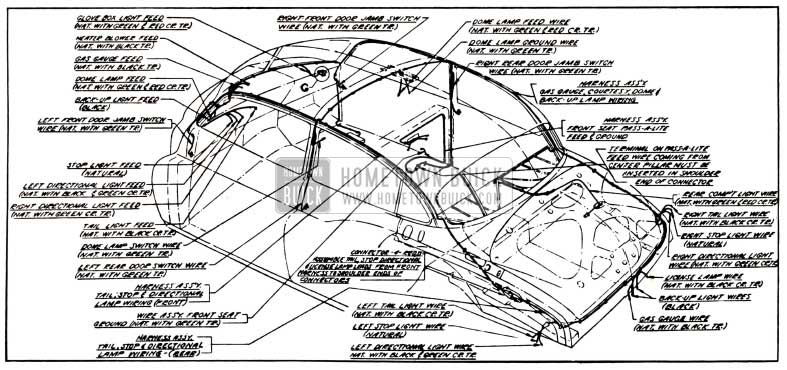 1951 Buick Body Wiring Circuit Diagram-Models 52, 72R-Styles 4519, 4719