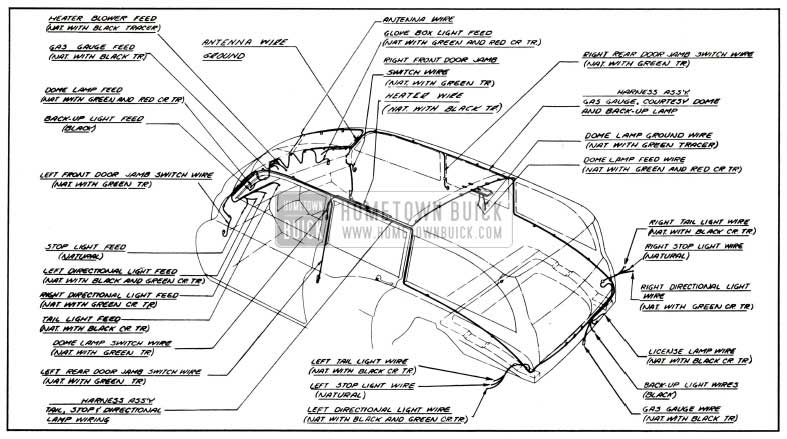1951 Buick Body Wiring Circuit Diagram-Models 59, 79-Styles 4581, 4781