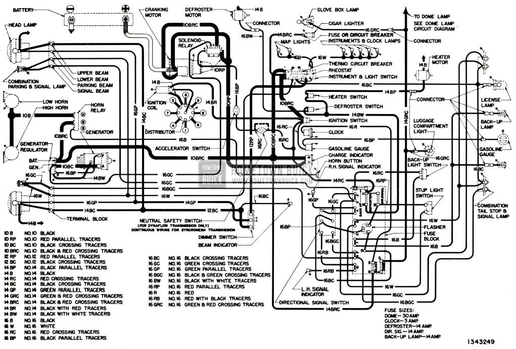 1951 Buick Chassis Wiring Circuit Diagram-Series 50-70