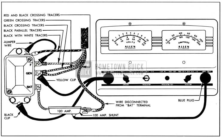1951 Buick Cutout Relay Test Connections-Allen Volt-Ampere Tester