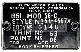 1951 Buick Fisher Body Number Plate