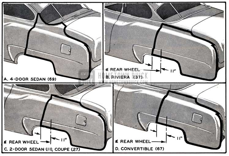 1951 Buick Four-Door Rear Quarter Side Outer Panel Application to Two-Door Models