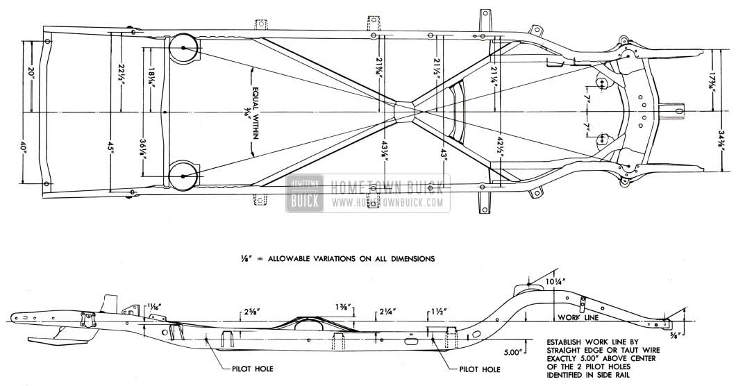 1951 Buick Frame Checking Dimensions-Series 40