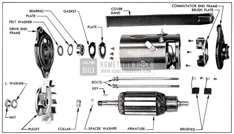 1951 Buick Generator Disassembled Exploded View