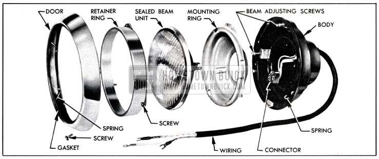 1951 Buick Headlamp Disassembled
