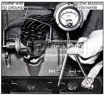 1951 Buick High Discharge Test of Battery Cell with Voltmeter