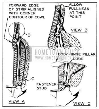 1951 Buick Hinge Pillar Sealing Strip Installation