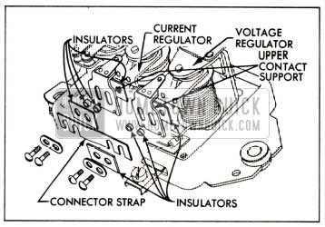 1951 Buick Relationship of Connector Strap, Insulators and Upper Contact Supports