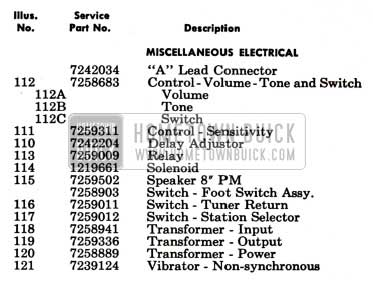 1951 Buick Selectronic Radio Electrical Parts View