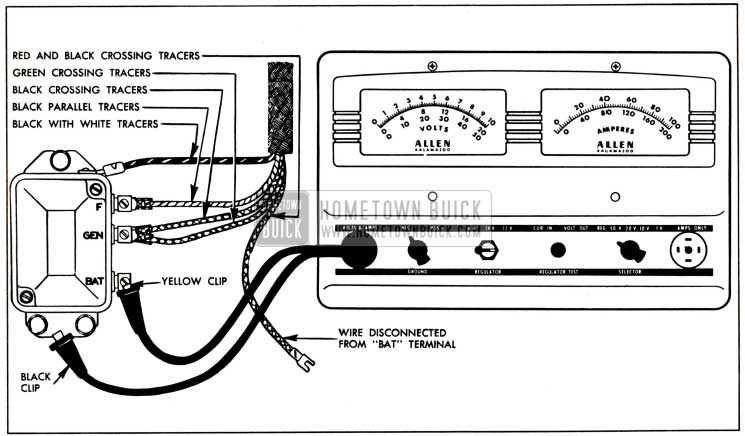 1951 Buick Voltage and Current Regulator Test Connections-Allen Volt-Ampere Tesler