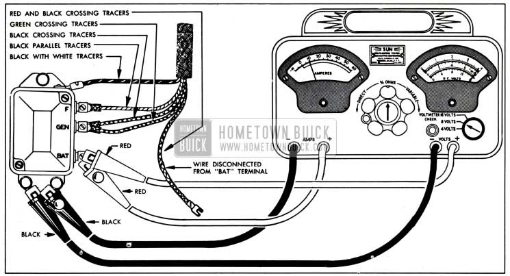 1951 Buick Voltage and Current Regulator Test Connections-Sun Volts Ampere Tester