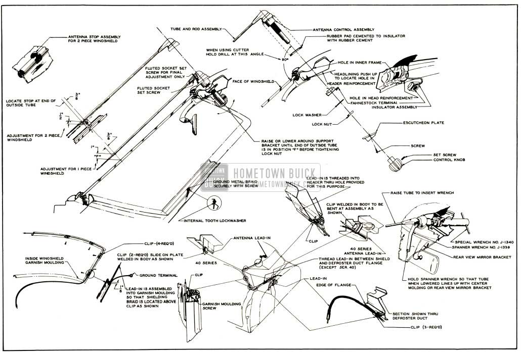 1952 Buick Antenna Installation Details-Closed Bodies and Model 45R