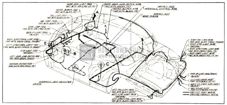 1952 Buick Body and Hydro-Lectric Wiring Circuit Diagram-Model 76R-Style 4737X
