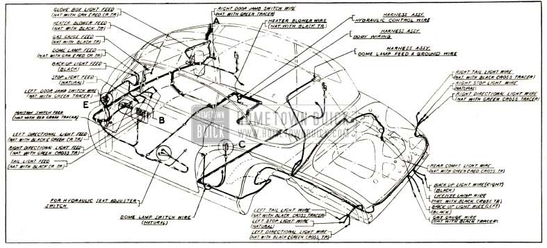 1952 Buick Body and Hydro-Lectric Wiring Circuit Diagram-Models 56C, 76C-Styles 4567X, 4767X