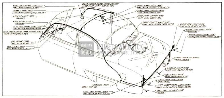 1952 Buick Body Wiring Circuit Diagram-Models 46, 465-Styles 43278, 4327