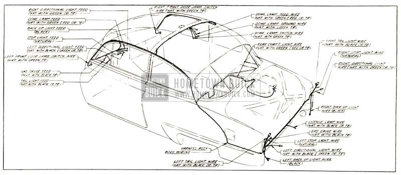 1952 Buick Body Wiring Circuit Diagram-Models 48, 48D-Styles 4311, 4311 D