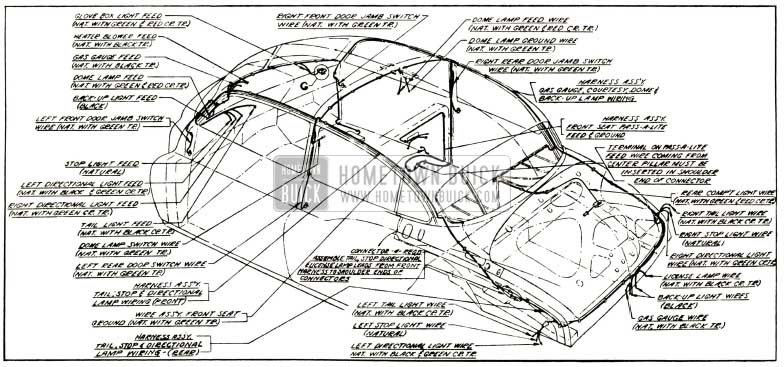1952 Buick Body Wiring Circuit Diagram-Models 52, 72R-Styles 4519, 4719