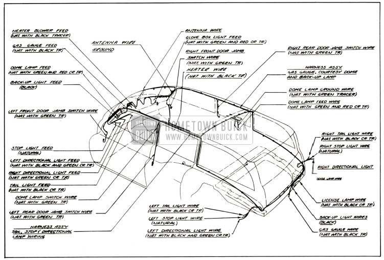 1952 Buick Body Wiring Circuit Diagram-Models 59, 79R-Styles 4581, 4781