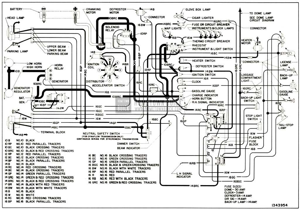 1952 Buick Chassis Wiring Circuit Diagram-Series 40 Without Direction Signals