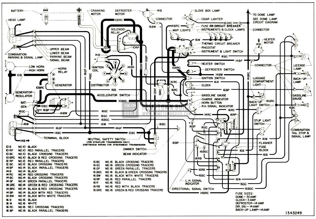 1952 Buick Chassis Wiring Circuit Diagram-Series 50-70
