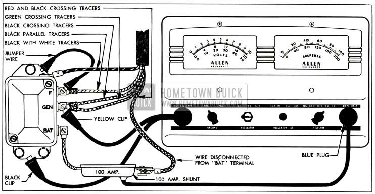 1952 Buick Cutout Relay Test Connections-Allen Volt-Ampere Tester