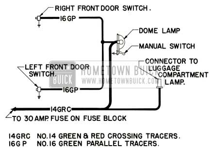 1952 Buick Dome Lamp Wiring Circuit Diagram-Series 40
