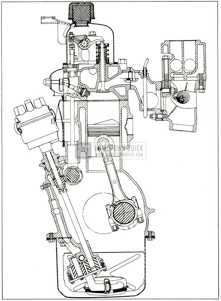 1952 Buick Engine End Sectional View
