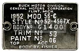 1952 Buick Fisher Body Number Plate