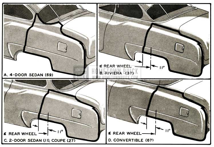 1952 Buick Four-Door Rear Quarter Side Outer Panel Application to Two-Door Models