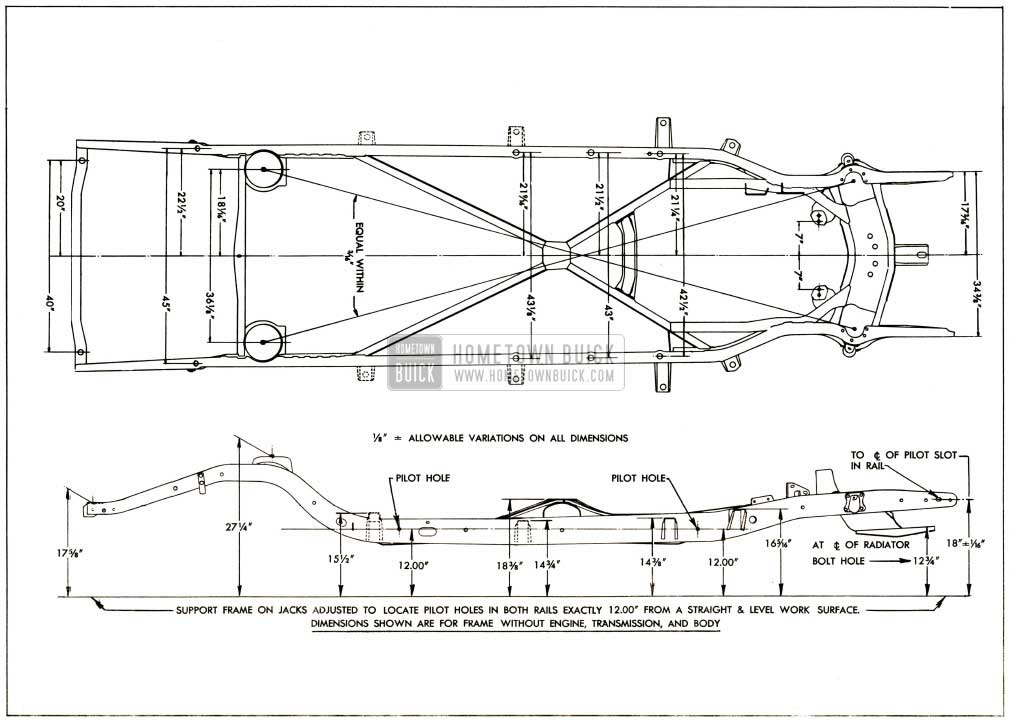 1952 Buick Frame Checking Dimensions-Series 40