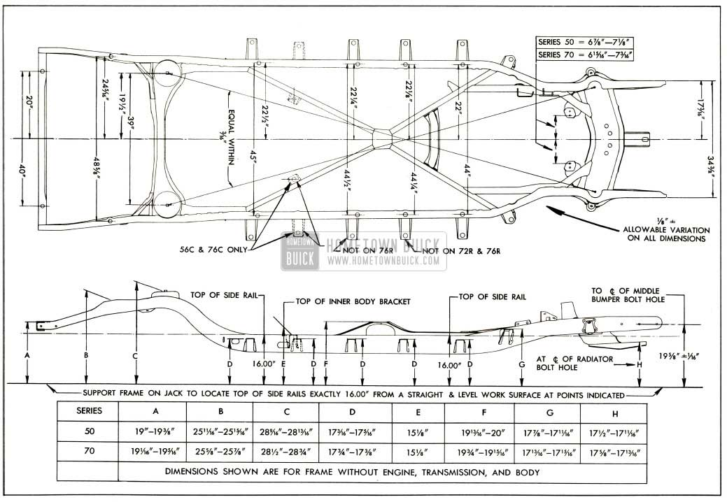 1952 Buick Frame Checking Dimensions-Series 50-70