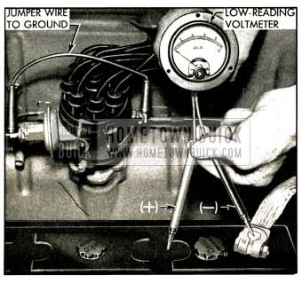 1952 Buick High Discharge Test of Battery Cell with Voltmeter