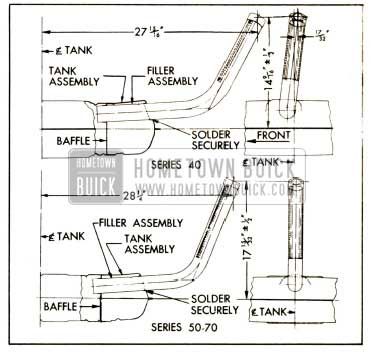 1952 Buick Location Dimensions for Installing Gasoline Tank Filler