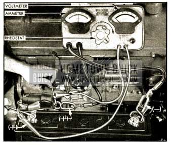 1952 Buick Testing Battery Cables and Connections with Voltmeter, Ammeter, and Rheostat