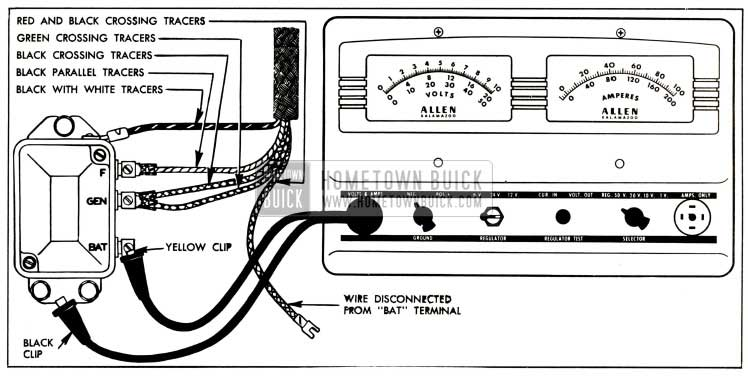 1952 Buick Voltage and Current Regulator Test Connections-Allen Volt-Ampere Tester
