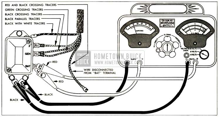 1952 Buick Voltage and Current Regulator Test Connections-Sun Volts Ampere Tester