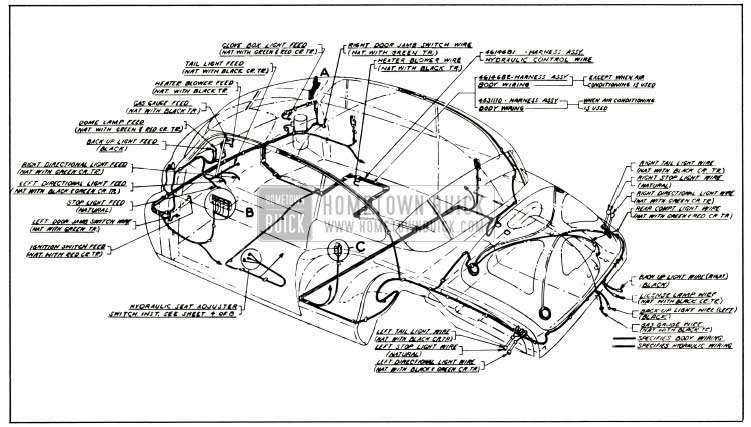 1953 Buick Body and Hydro-Lectric Wiring Circuit Diagram Model 76R-Style 4737X