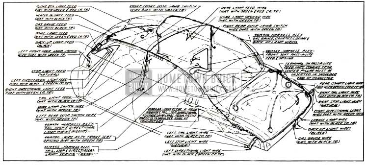 1953 Buick Body Wiring Circuit Diagram-Models 52, 72R - Styles 4519, 4719