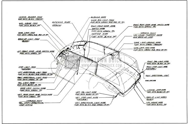 1953 Buick Body Wiring Circuit Diagram-Models 59, 79R - Styles 4581, 4781