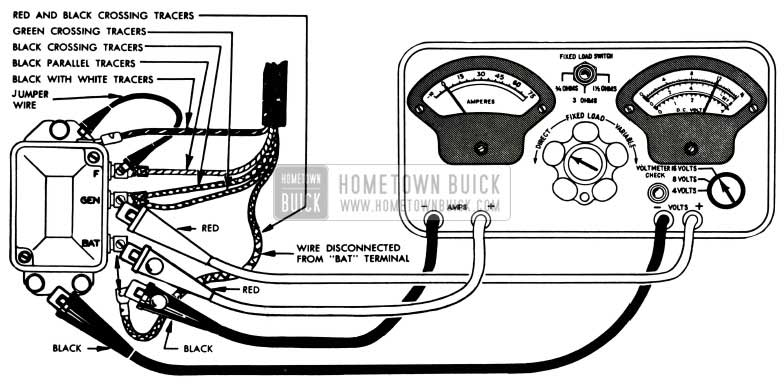 1953 Buick Cutout Relay Test Connections-Sun Tester