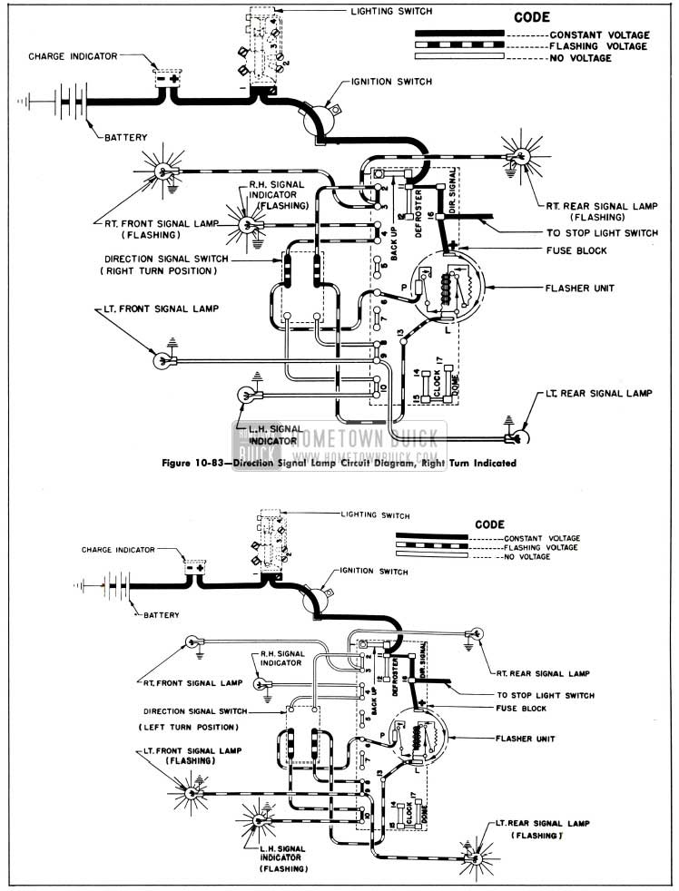 1953 Buick Direction Signal Lamp Circuit Diagram, Left Tum Indicated