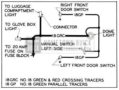 1953 Buick Dome Lamp Wiring Circuit Diagram-Models 56C, 56R, 76C, 76R