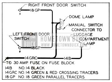 1953 Buick Dome Lamp Wiring Circuit Diagram-Series 40