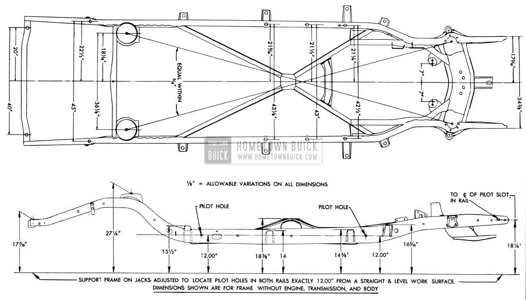 1953 Buick Frame Checking Dimensions-Series 40