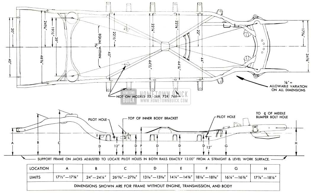 1953 Buick Frame Checking Dimensions-Series 50-70