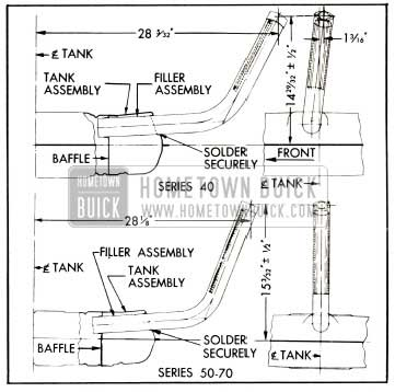 1953 Buick Location Dimensions for Installing Gasoline Tank Filler